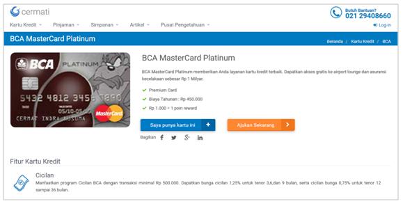 Informasi tentang BCA MasterCard Platinum