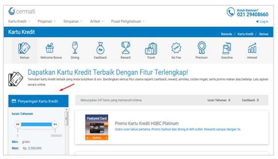 halaman informasi kartu kredit di Cermati